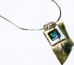 Serling silver pendant, with 18K gold, dichroicglass