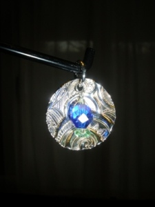 Blue Reflections (pendant with fine silver, glass)