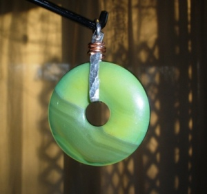 Donut fun (pendant of Jade, fine silver, copper)