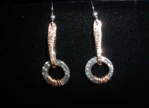 Fine silver, copper earrings.