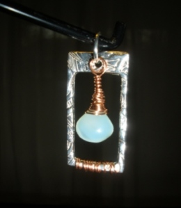 Lumen (pendant of fine silver, copper-wrapped chrysoprase)